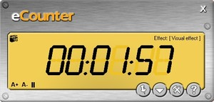 e-Counter is a digital counter who displays count-downs specified by the user. When time finishes, the program can execute usefully tasks, like PC shutdown or hang-up an Internet connection.